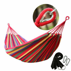 Double 2 Person Cotton Rope Hanging Hammock Swing Camping Canvas Bed w Straps