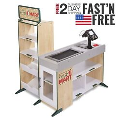 Freestanding Wooden Role Play Shopping Toy Fresh Mart Grocery Store Child Gift