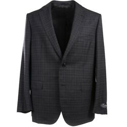 Nwt 3295 Belvest Charcoal Gray Layered Check Wool Suit 46 R Eu 56