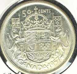 Just Reduced Canada 1957 50 Cent Ms Silver Coin From A Huge Collection