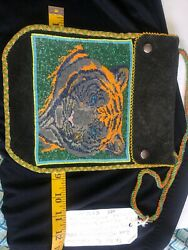 Handmade Glass Art Loom Beadwork Tiger Leather Crossover Clutch Unique Quality