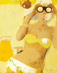 Bernie Fuchs Illustration Retro Blond Girl in Yellow with Binoculars at  beach