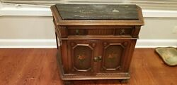Antique Commode With Black Marble Top And Server Drawer