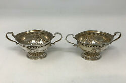 Birmingham 1904 Pair Of Sterling Silver Double Handle Bowls.