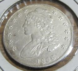 1836 50c Lettered Edge Capped Bust Half Dollar Au+ Scratch On Reverse