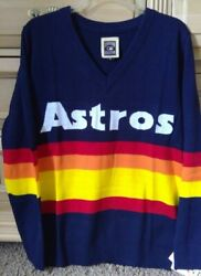 New Houston Astros V Neck Retro Sweater Xl- Ladies Fitted Cut