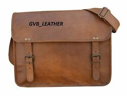 18quot; Leather Messenger Well Made Bag Laptop Satchel Briefcase Padded Messenger $51.99