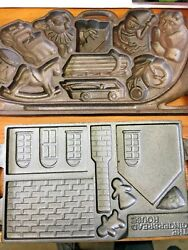 Cast Iron The Gingerbread House Mold John Wright Co Vintage 1985 + Sleigh Toys