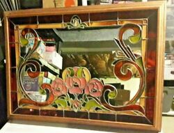 Art Glass Mirror Rare Large Hand Crafted 38 27.5 Beautiful Vintage Deco 1960's