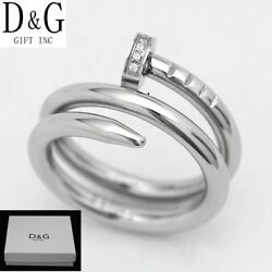 New Dg Gift Inc Women Stainless Steel Cz Silver Nail Engagement Ring Size 6 +box