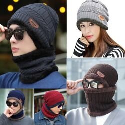 Mens Womens Winter Baggy Slouchy Knit Beanie Hat and Scarf Set Ski Skull Cap Lot