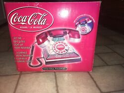 Coca-cola Stained Glass Telephone Lighted Up Phone Push Up Button - New In Box