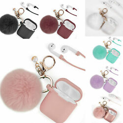 For Apple Airpods Charging Case 2&1 Earphone Airpod Cover with Key chain Pompom