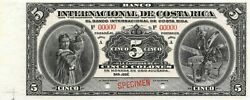 Costa Rica 5 Colones Nd.1914 P 160s Series A Specimen Uncirculated Banknote