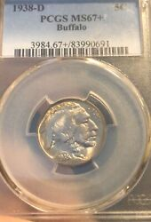 1938 D Buffalo Nickel Pcgs Ms67+lightly Toned. Pcgs Guide 6000.00 In Ms68.