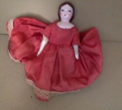 Small Vintage Doll. Porcelain Head Arms Legs. Cloth Body. Early 1900and039s. 7.
