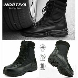 NORTIV 8 Men's Steel-Toe Safety Work Boots Anti-Slip Military Tactical Boots US $46.39