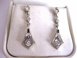Antique 18k White Gold Dangling Earringsdiamonds And Sapphireart Deco1920and039s