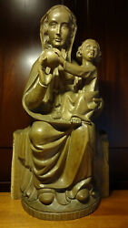 23 Antique Romanesque Hand Carved Wood Enthroned Our Lady Mary Madonna Statue