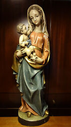 ✞ 28 Vintage Hand Carved Wooden Our Lady Mary Madonna + Jesus Statue Figurine ✞