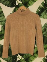 Pure Collection 100% Cashmere Cable Knit Roll Neck Sweater Camel Beige 10 38 6 S