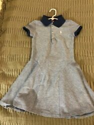 Authentic Girl's Polo Dress, light blue, contrast collar, size 7