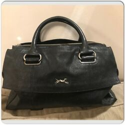 BIMBA Y LOLA Black Leather Boston Hand Tote Bag $195.00