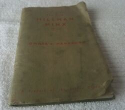 1958 Owner's Manual Hillman Minx Series Ii 80 Page Softbound Photos And Lub Chart