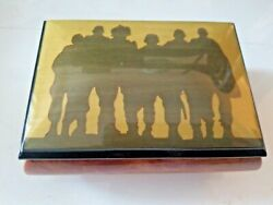 God Bless The Usa Soldier Wood Inlay Italian Made Music Jewelry Box.