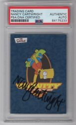2002 Topps The Simpsons Nancy Cartwright Signed Auto Trading Card 8 Psa/dna