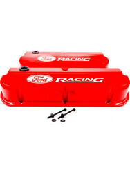 Proform Ford W Racing Cast Valve Cover Red Raised Emblems Sbf 302-143
