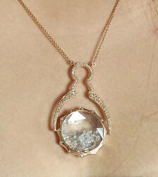 Pave 3.9ct Diamond Rotating Shaker Pendant Necklace 14k Rose Gold New Exclusive