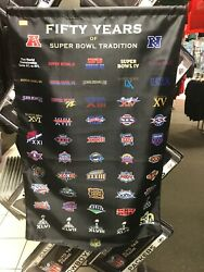 50th Super Bowl Anniversary Banner Packers Steelers Patriots 49ers Cowboys 18x28