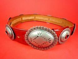 CATHERINE DIAL EASLEY RED SOUTHWESTERN CONCHO LEATHER BELT ~ MEDIUM
