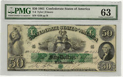1861 50 Csa Confederate States T-6 Pmg Choice Uncirculated 63 Priced Right