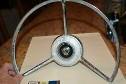 Old Car Ford Steering Wheel Beeper Button Chrome Trim Ford Fairlane 1958