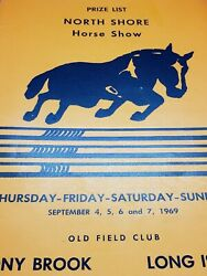 1969 North Shore Horse Show Prize List, Old Field Club, Stony Brook Long Island