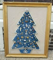 Lighted Vintage Costume jewelry Christmas Tree gold frame Brooch antique pins