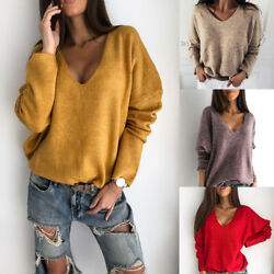 Women Sweater Loose Solid Fashion Cashmere Knitted Pullover V Neck Long Sleeve $13.27
