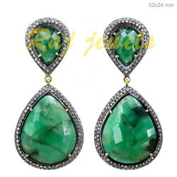 Emerald Pave Diamond Vintage Look Dangle Earrings Sterling Silver Gold Jewelry