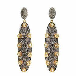 14k Yellow Gold Pave 4ct Diamond Dangle Earrings 925 Silver Antique Look Jewelry