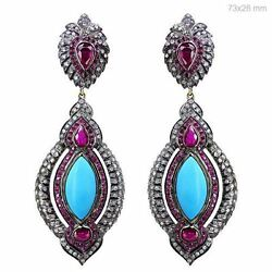 14.71 Ct Ruby Turquoise Victorian Style Dangle Earrings Silver 14k Gold Jewelry