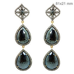 Black Spinel Dangle Earrings 14k Gold 3.54ct Diamond Pave 925 Silver Jewelry New