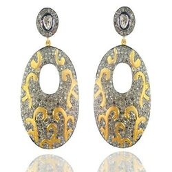 Diamond Pave 14k Gold Dangle Earrings Sterling Silver Vintage Style Jewelry Oy