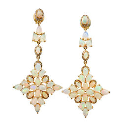 Opal Gemstone Solid 18k Yellow Gold Dangle Earrings Pave Diamond Estate Inspired