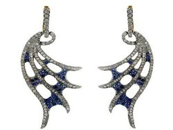 Diamond Pave Sapphire Gemstone 14k Gold Wings Dangle Earrings Sterling Silver Qy