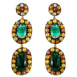 15.3ct Diamond Pave Dangle Earrings 14k Gold Gemstone 925 Silver Emerald Jewelry