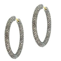 6.44ct Pave Diamond 14k Gold Hoop Earrings Sterling Silver Designer Jewelry Qy