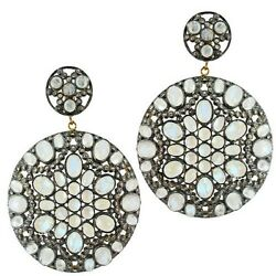 14k Gold Diamond Pave Moonstone Sterling Silver Vintage Style Earrings Jewelry