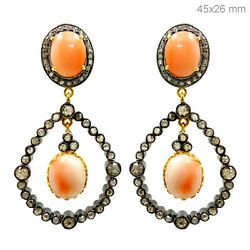 Diamond Pave Sterling Silver Coral Earrings 14k Gold Fine Vintage Style Jewelry